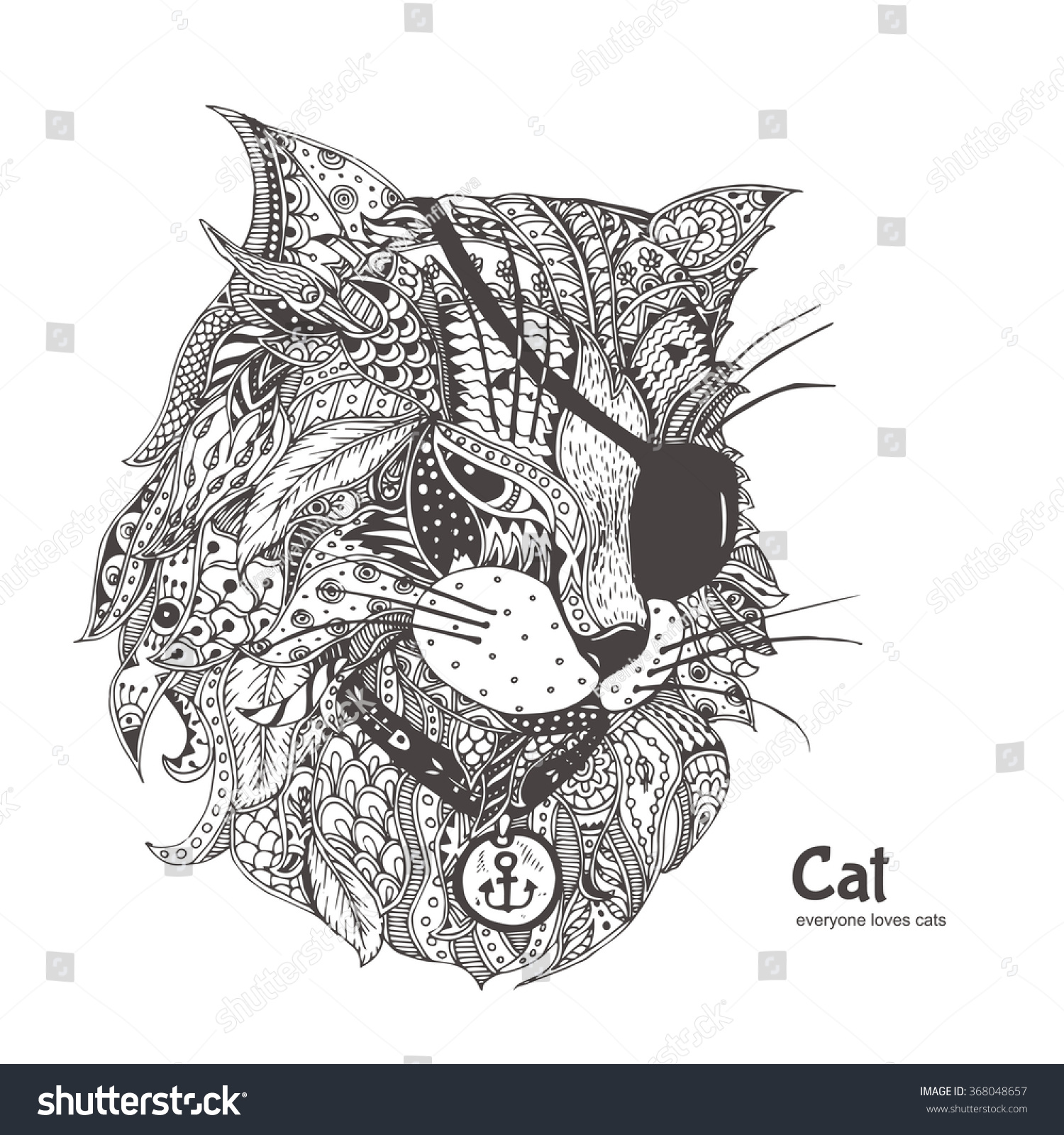 Zen cat coloring page - Cat Pirate Hand Drawn Cat With Ethnic Floral Doodle Pattern Coloring Page