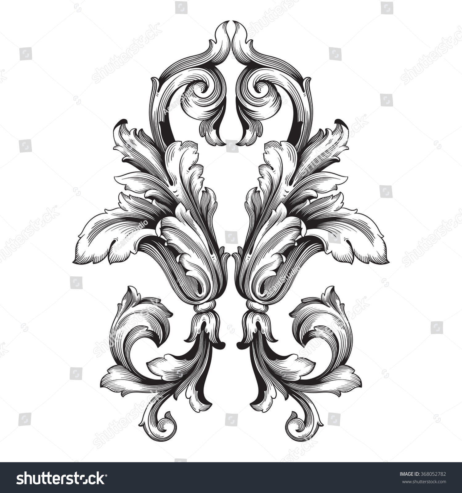Antique Scroll Vector: Vintage Baroque Frame Scroll Ornament Engraving Immagine