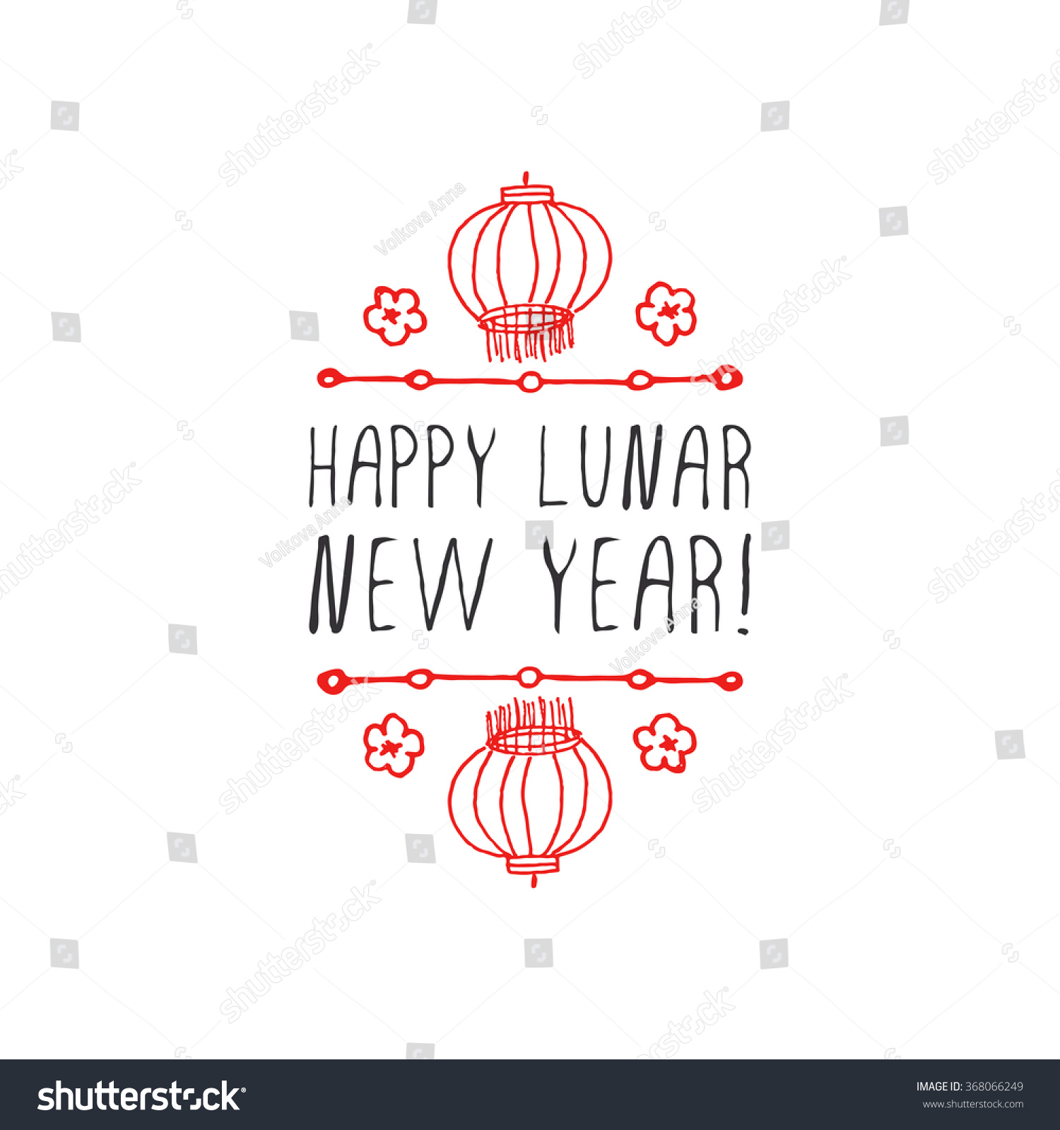 chinese new year hand drawn greeting stock vector royalty free