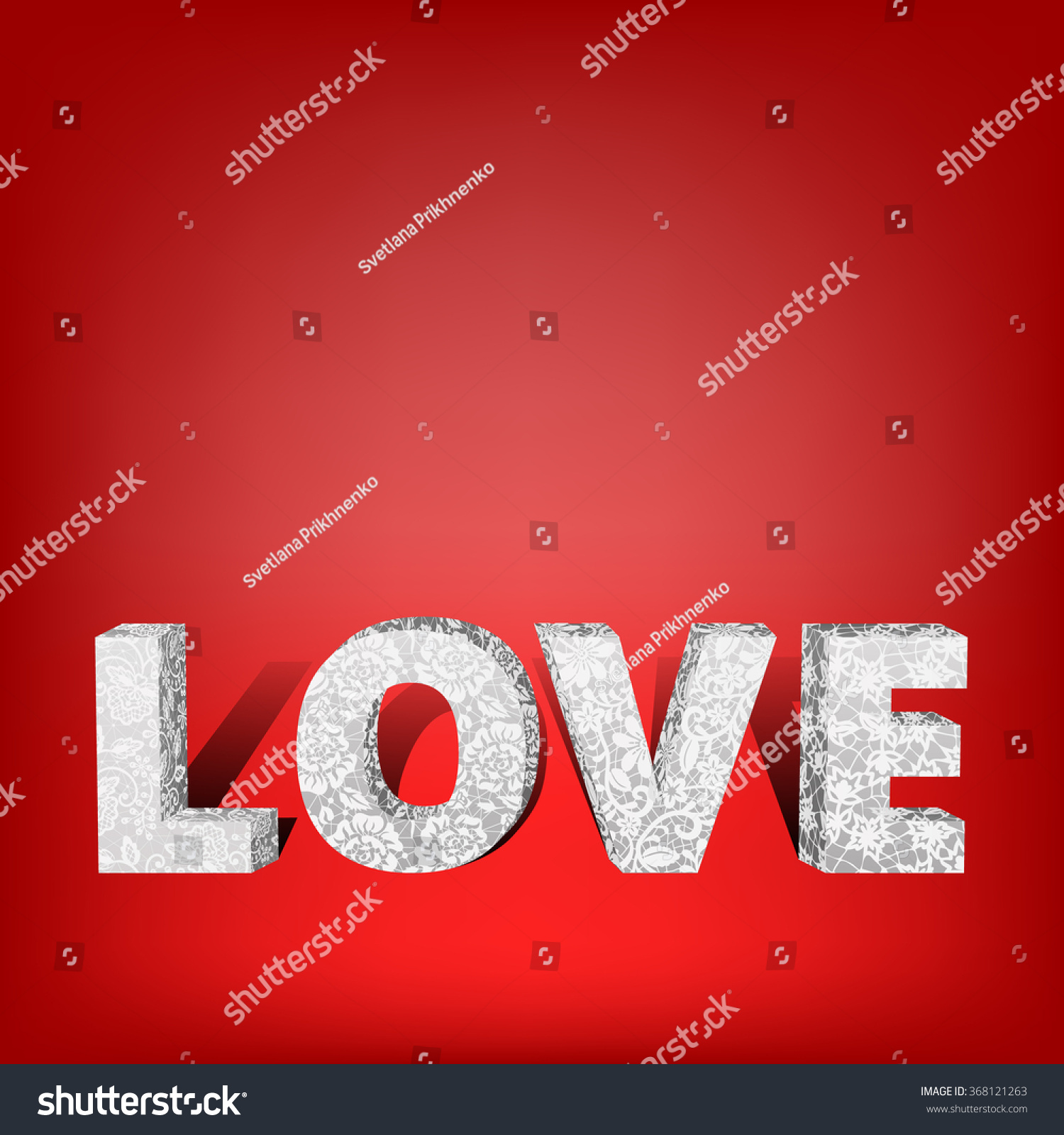 Volumetric Lace Word Love  D Letters Stock Il Ration  Shutterstock