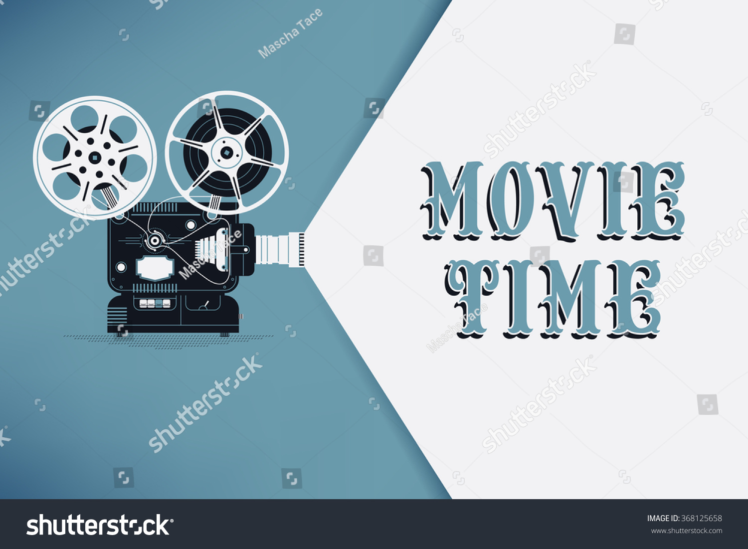 Lovely Movie Time Concept Layout With Film Projector And Text Area Sample Title In Retro