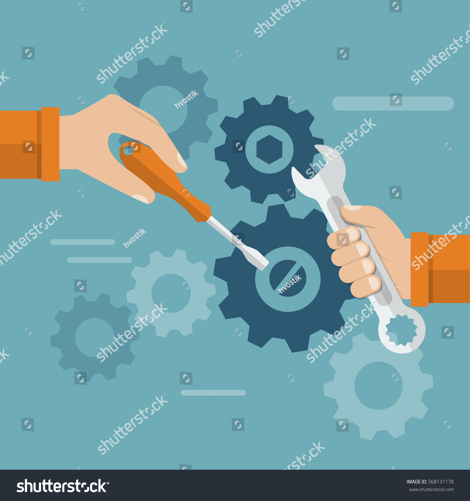 teamwork hands team tool repair mechanism stock vector 368131178 teamwork hands team a tool to repair mechanism sleek design vector illustration