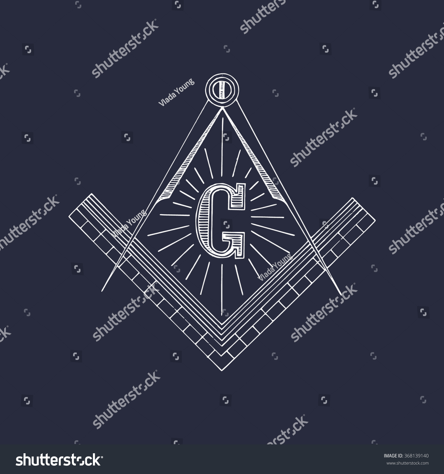 Masonic Square Compass Symbols Hand Drawn Stock Vector
