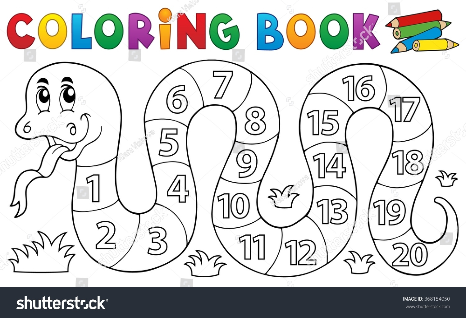 Coloring Book Snake With Numbers Theme