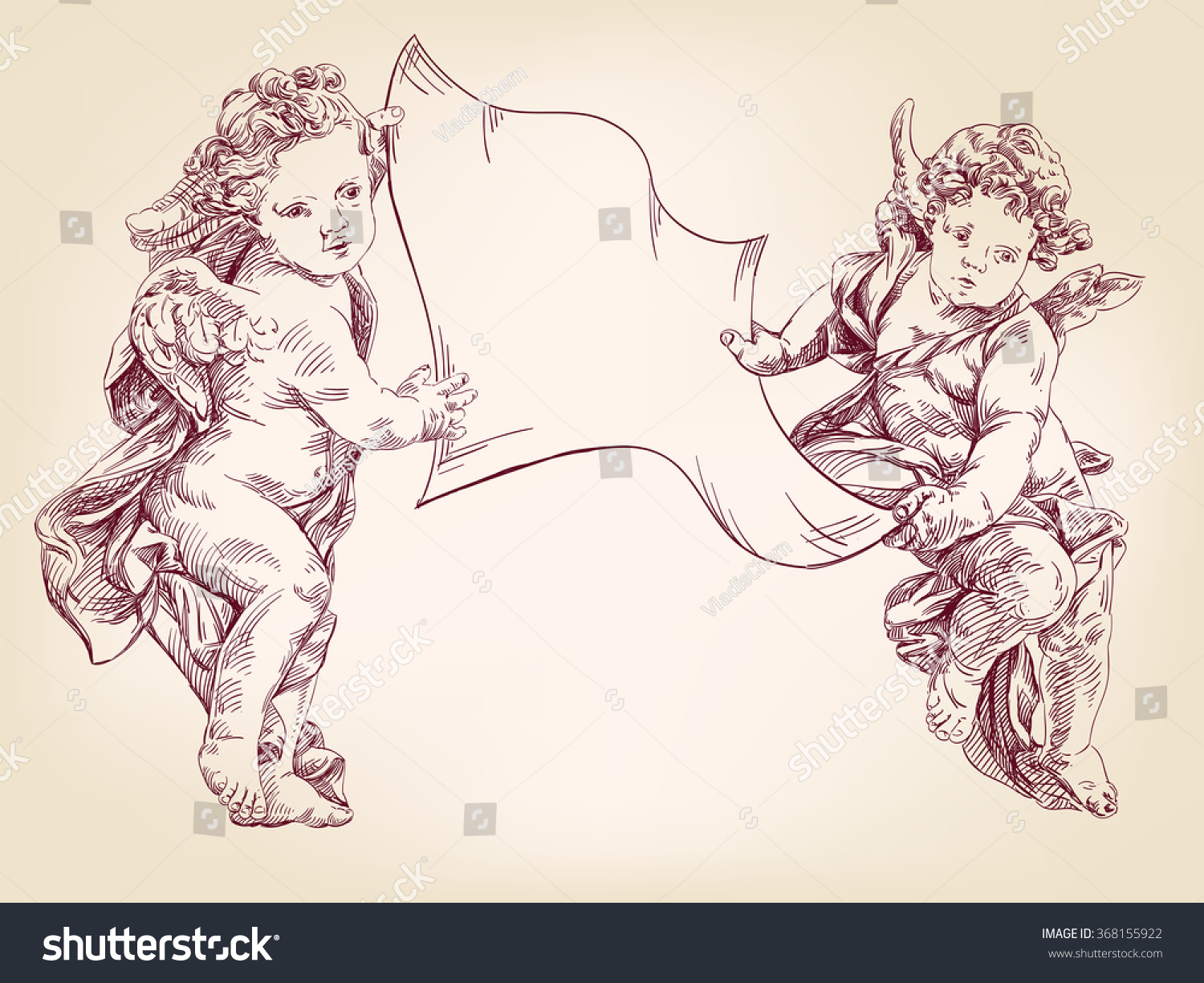 angels or cupid are holding a blank sheet of messages isolated hand drawn vector llustration realistic sketch
