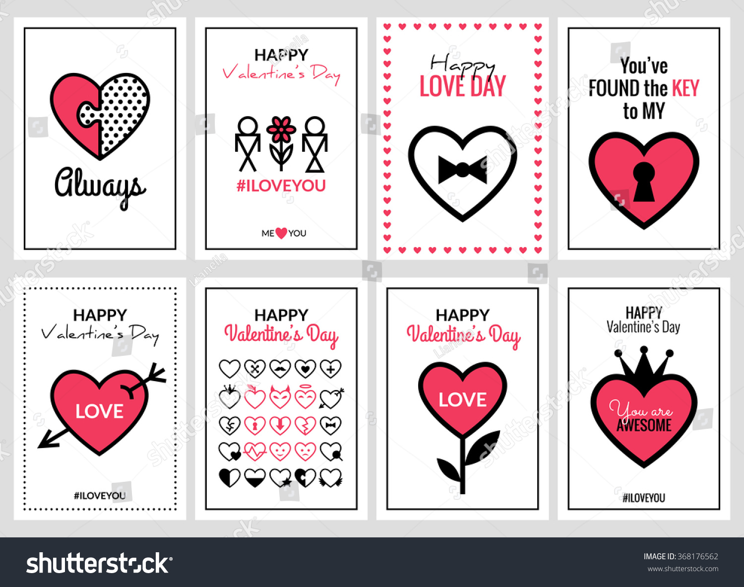 Happy Valentines Day Wedding Cards Set Vector 368176562 – Phrases for Valentines Cards