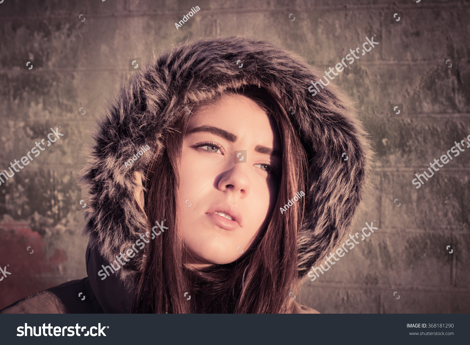fbe158c49daa Portrait close up of a teenage girl outdoor wearing winter coat with ...