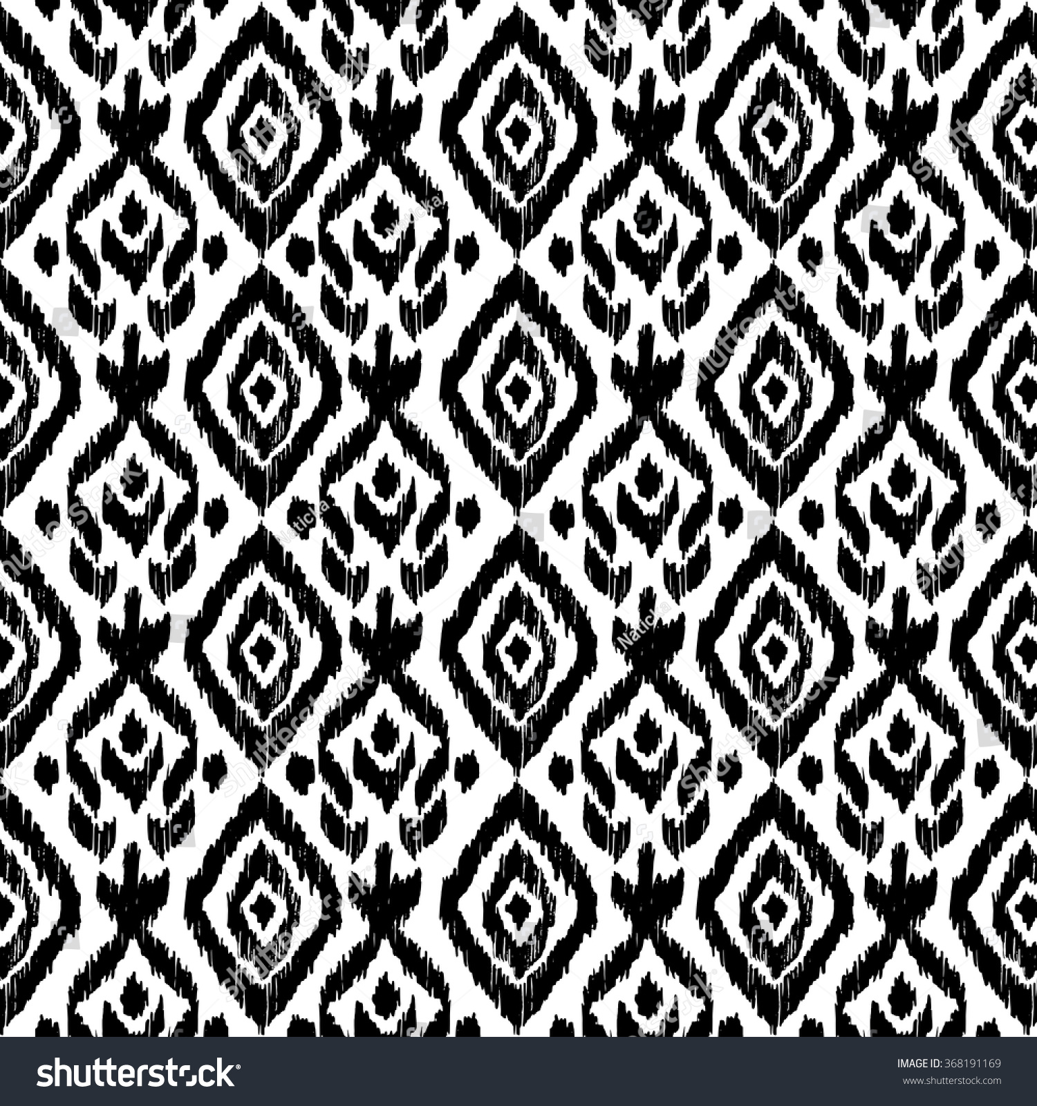Hand drawn ethnic seamless pattern wrapping stock vector for Black and white mural prints