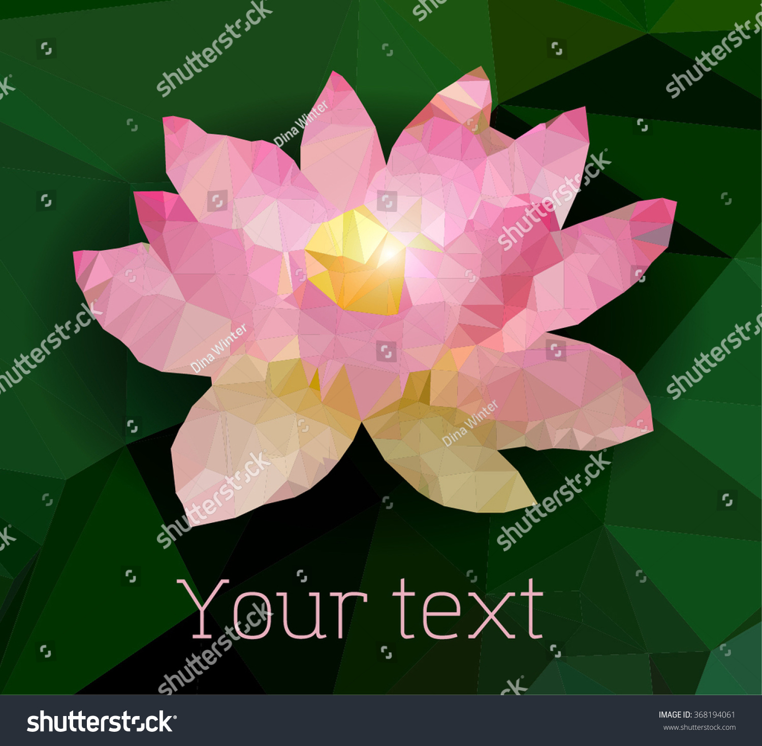 Abstract Paper Lotus Flower Low Poly Stock Vector 368194061