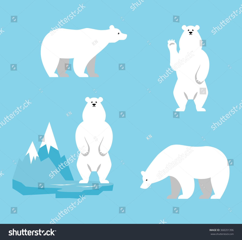 polar bears collection funny cartoon character stock