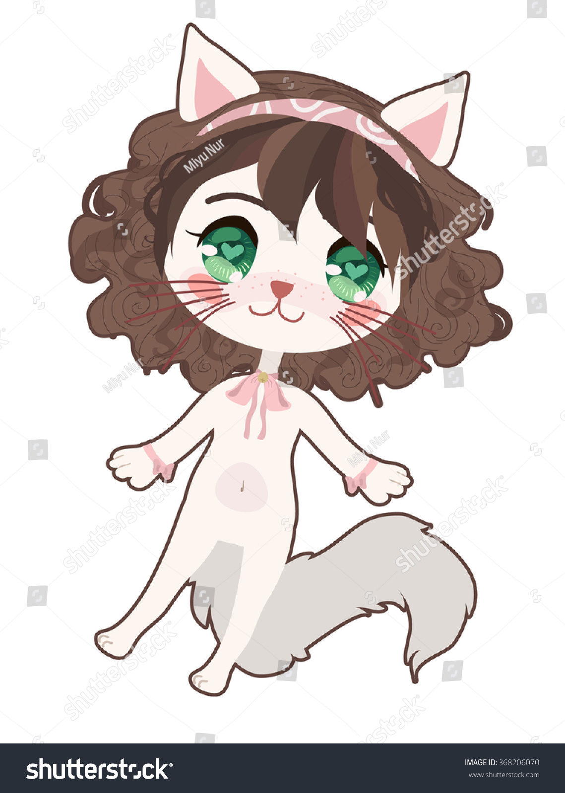 Cute Anime Cat Girl Stock Vector Shutterstock