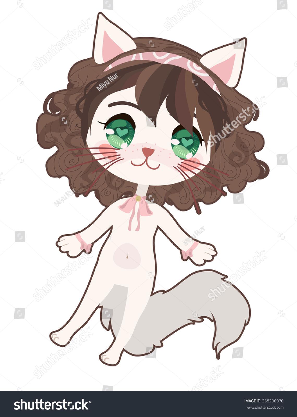 Cute Anime Cat Girl Stock Vector Shutterstock