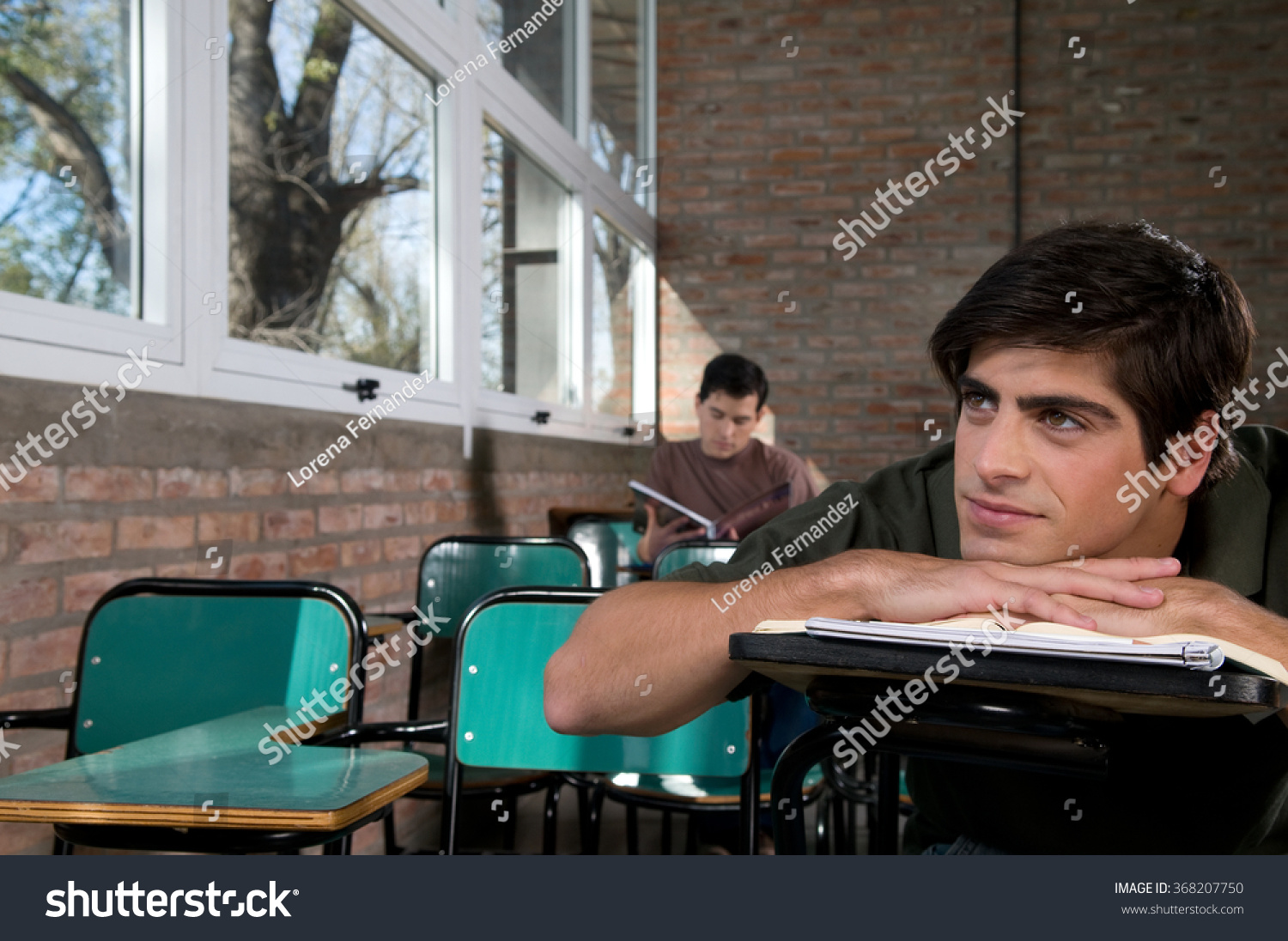 Student Yawning On The Class Stock Photo 368207750 ...