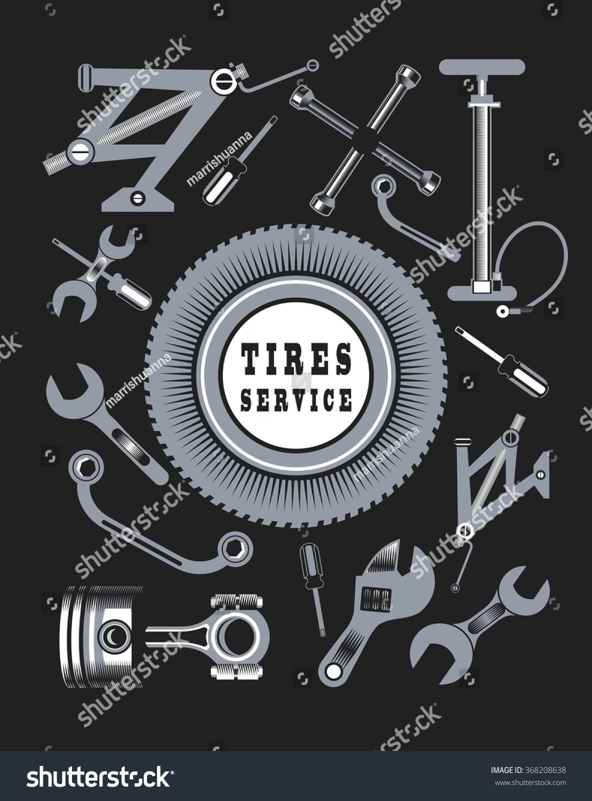 Vector Set Tools Spare Parts Car Stock Vector 368208638 - Shutterstock