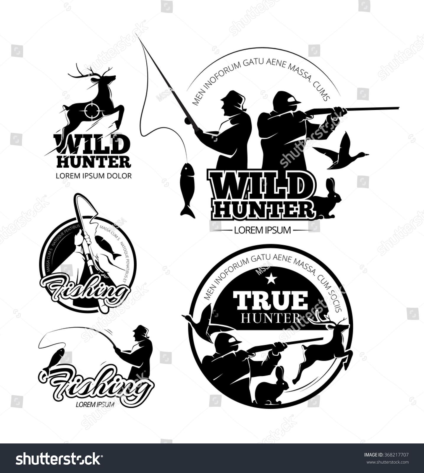Vintage Hunting Fishing Vector Labels Logos Stock Vector 368217707 ...