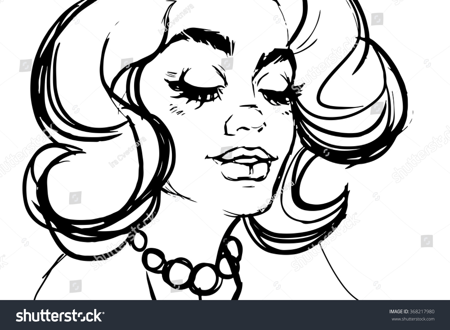 Line Drawing Face Woman : Pop art woman long lashes looking stock vector