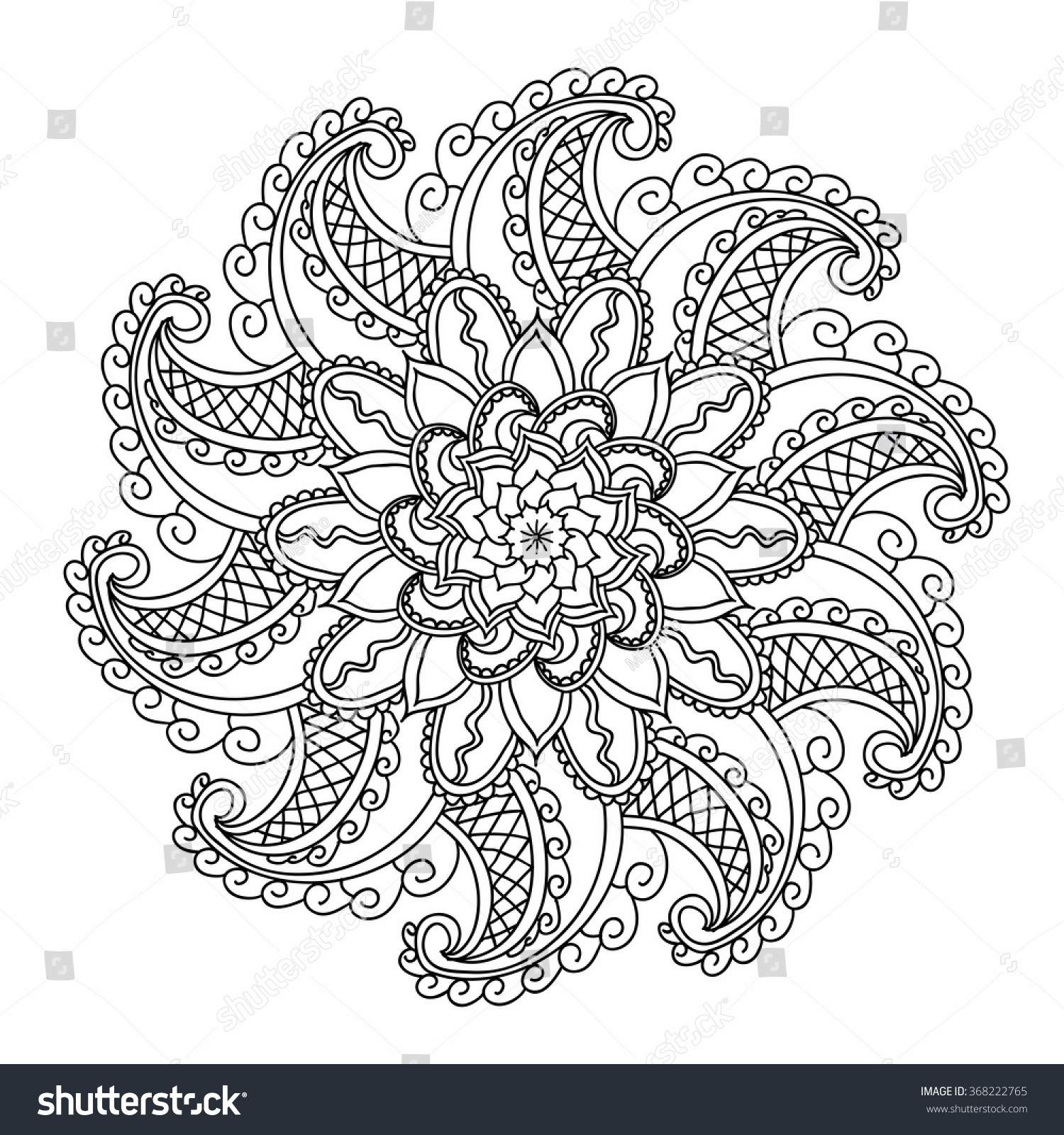 ornamental round pattern with floral elements for smart modern coloring book for adult shirt design - Modern Patterns Coloring Book