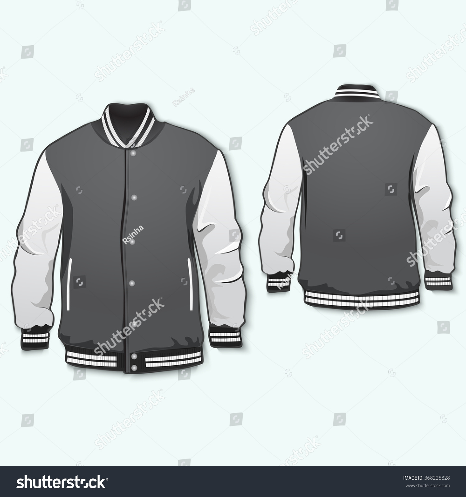 varsity jacket template front back vector stock vector royalty free