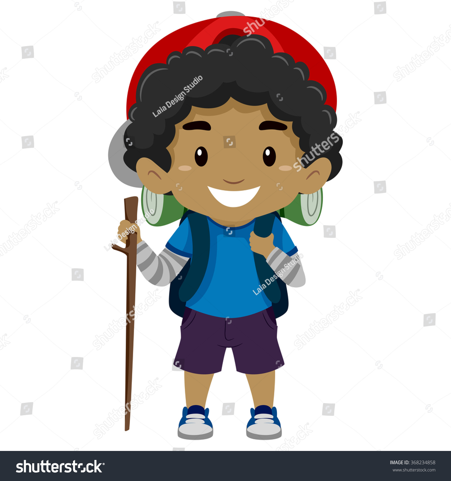 Vector Illustration Of A Black Boy In Camping Costume