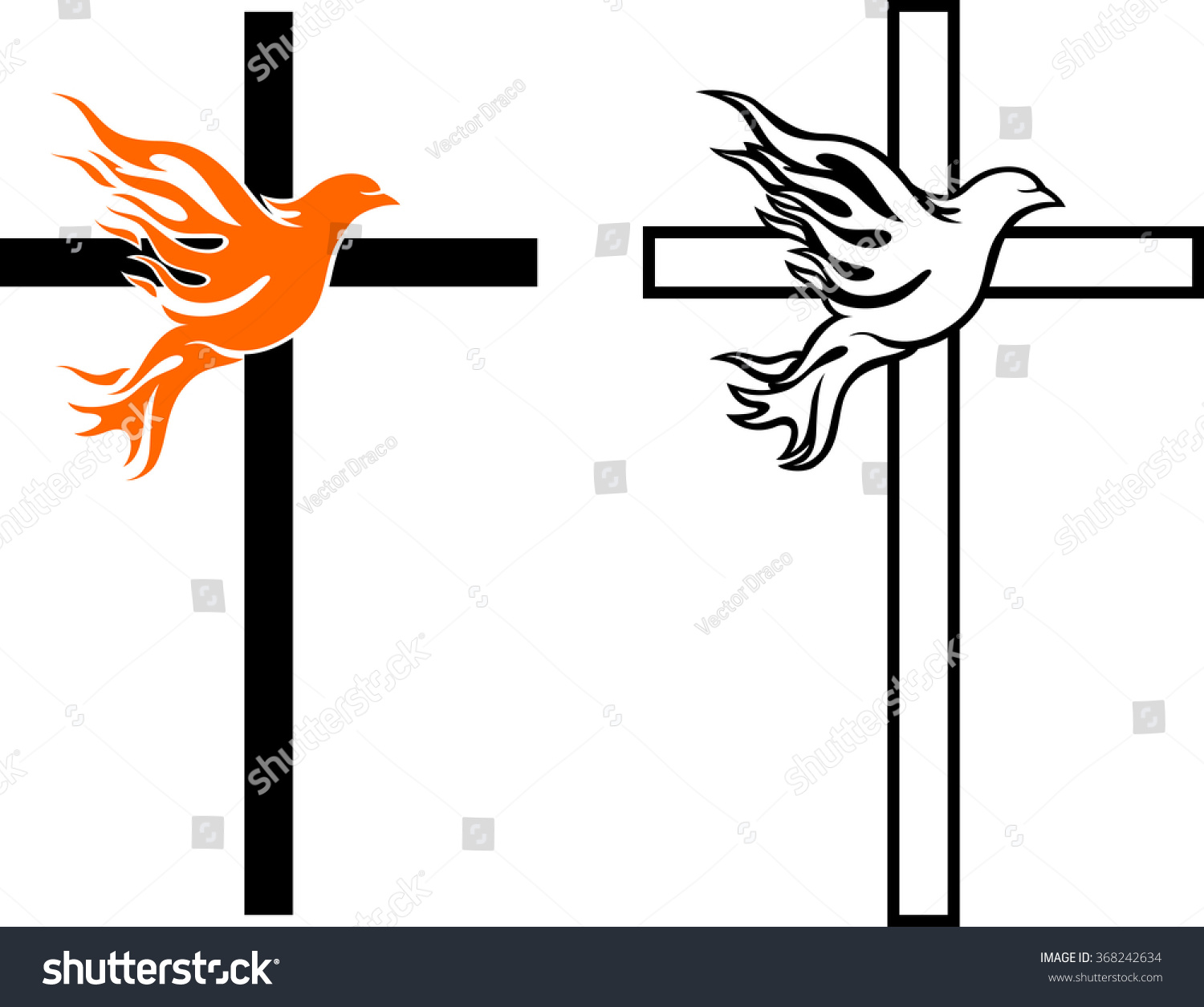 Flame Dove Cross Stock Vector 368242634 - Shutterstock