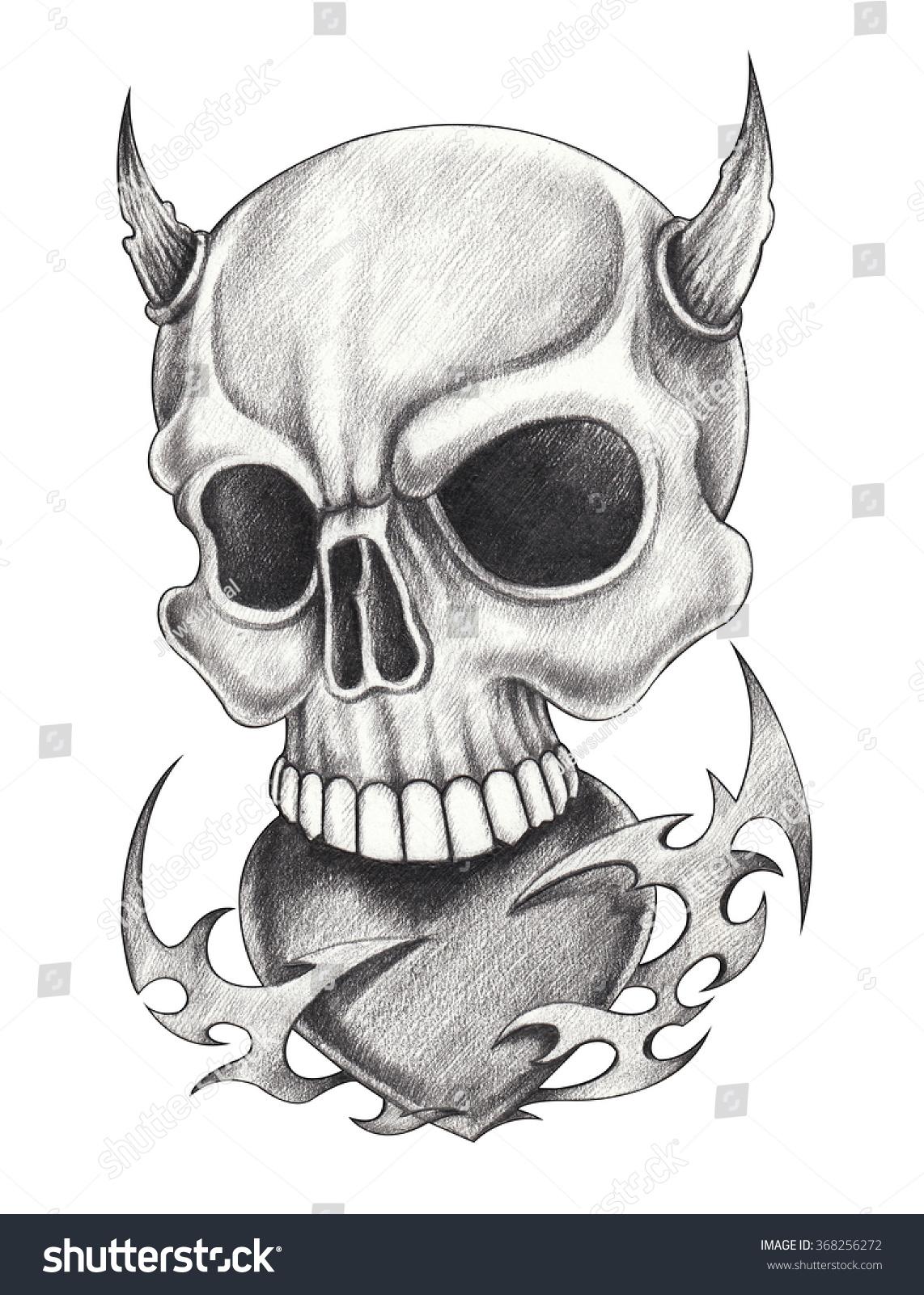 Skull heart devil tattoohand pencil drawing stock illustration 368256272
