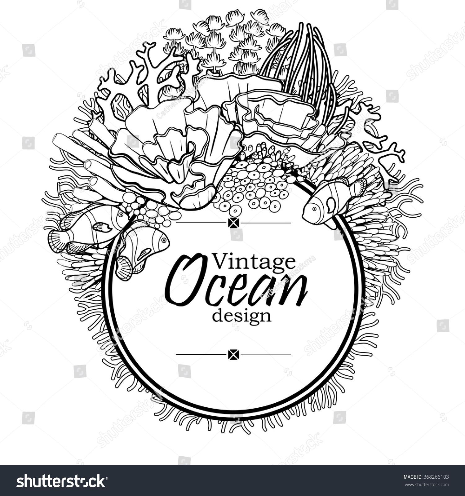 vintage graphic card sea ocean flora stock vector 368266103