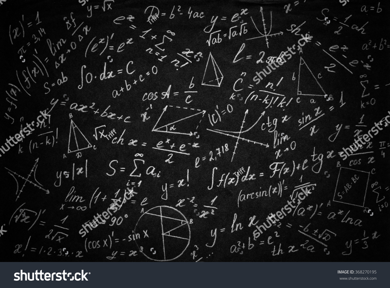 Math Physics Formulas On Black Background Stock Photo ...
