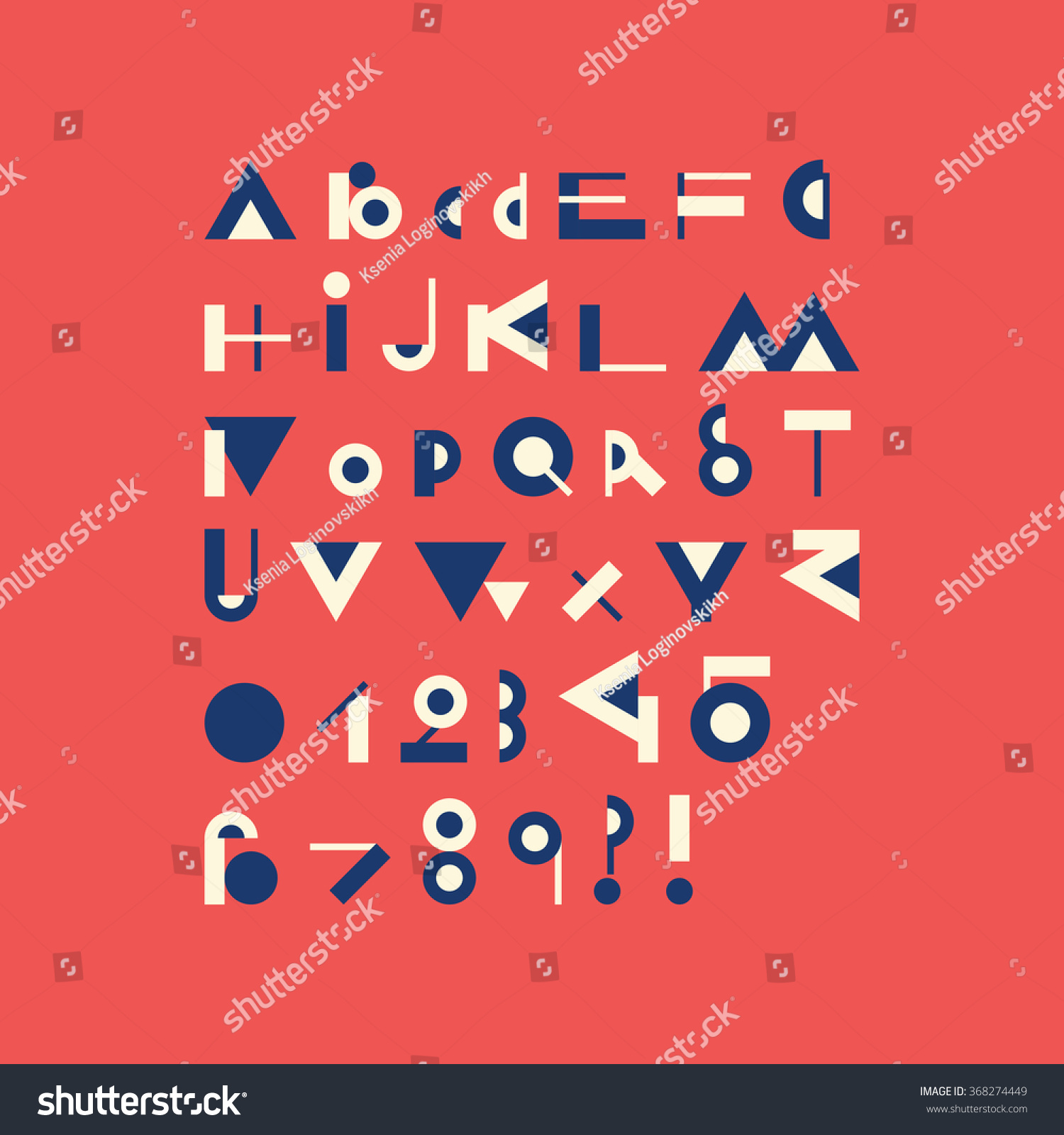 Royalty Free Vector Geometric Font