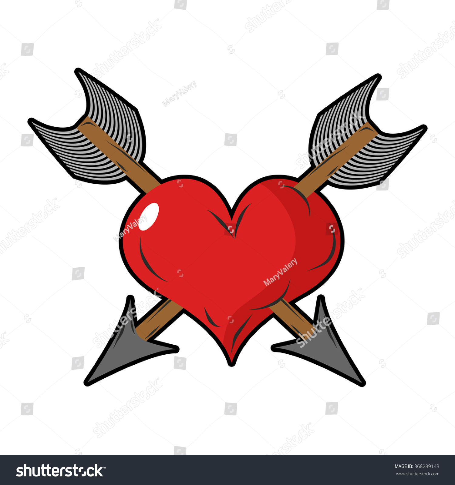 heart arrow two arrows pierced sign stock vector 368289143. Black Bedroom Furniture Sets. Home Design Ideas