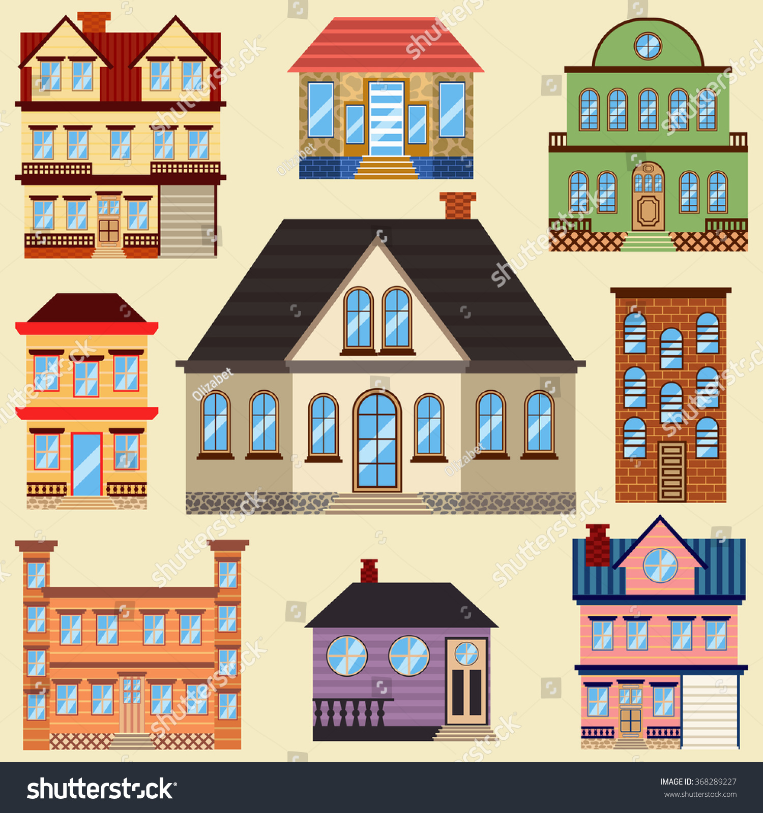 Different Types Houses Buildings Map Other Stock Vector 368289227 ...