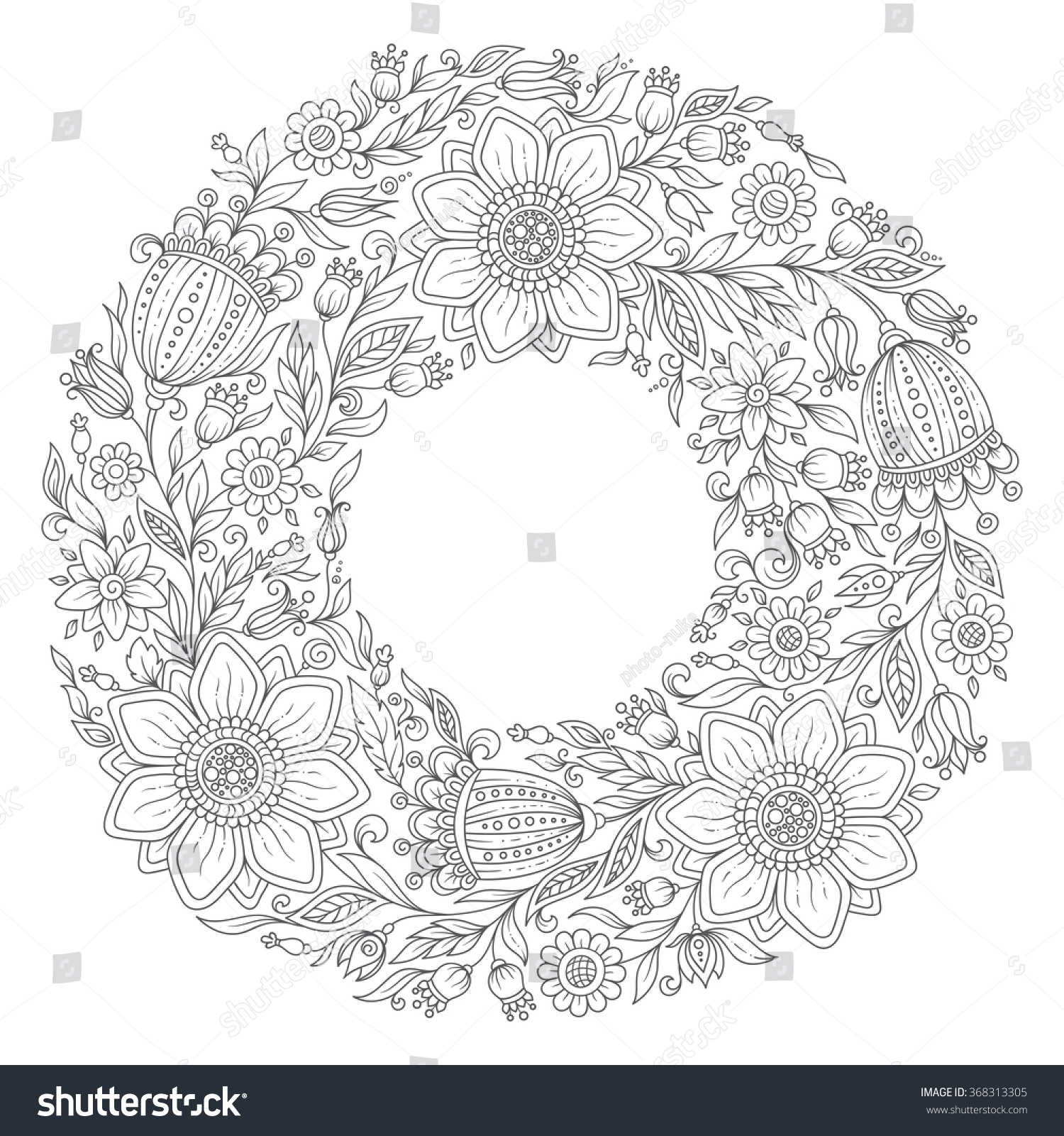 flowers wreath coloring book page stock vector 368313305