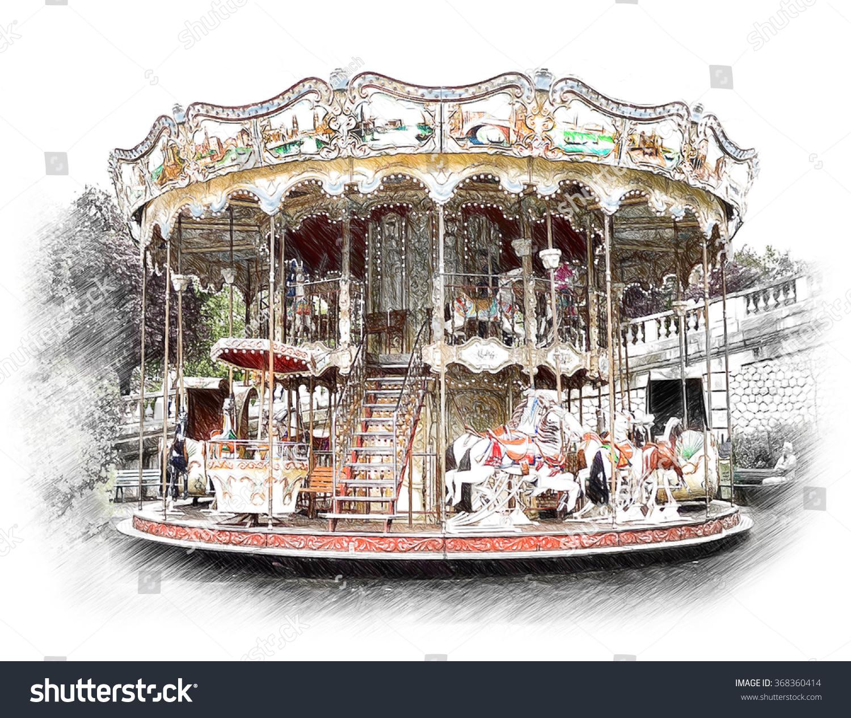 carousel merrygoround paris illustration draw sketch stock illustration 368360414 shutterstock. Black Bedroom Furniture Sets. Home Design Ideas