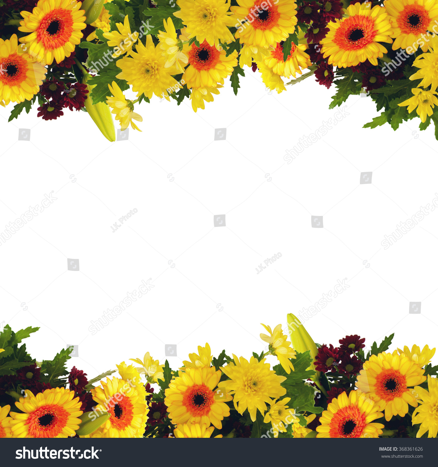Frame Border Bouquet Yellow Flowers On Stock Photo Edit Now