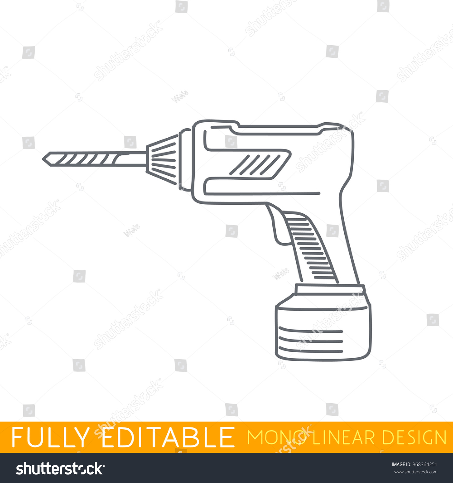 Drill Template | Royalty Free Cordless Drill Modern Thin Line Logo 368364251 Stock