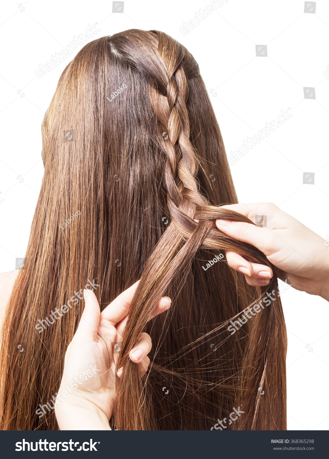 Hands Masters Weave Braid Four Parts Stock Photo Edit Now