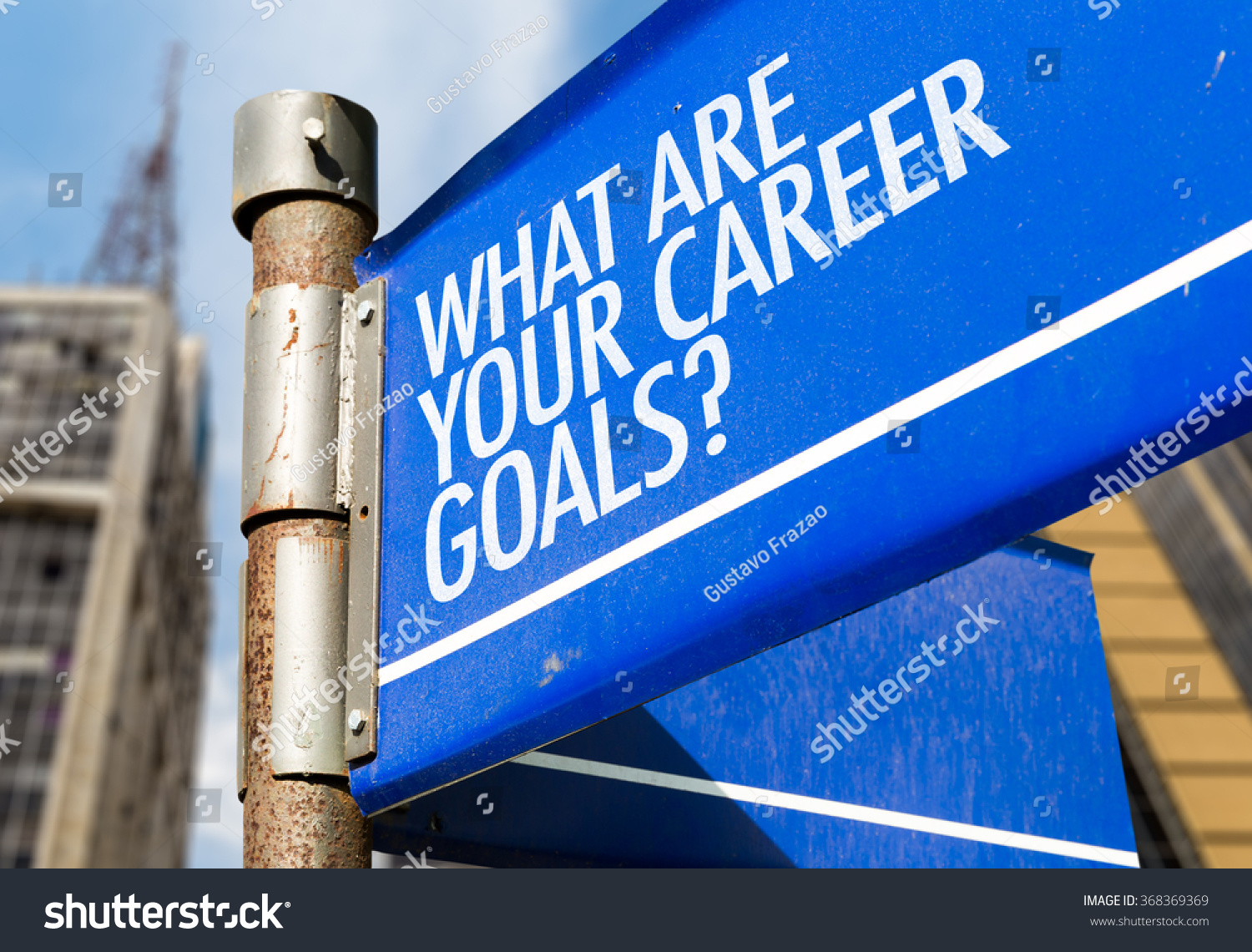 what are your career goals written on road sign stock photo save to a lightbox