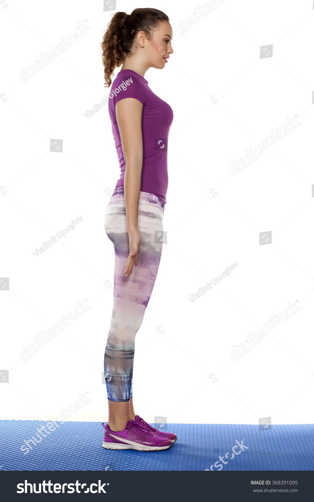 Fool Body Profile Sporty Pretty Girl Stock Photo 368391095