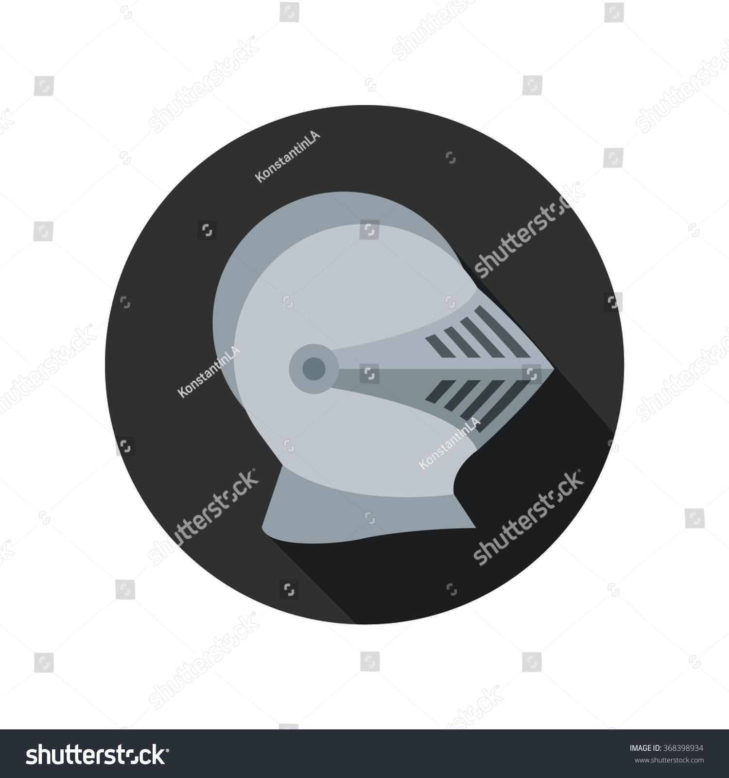 Icon Knights Steel Helmet Circle Flat Stock Vector 368398934 ...
