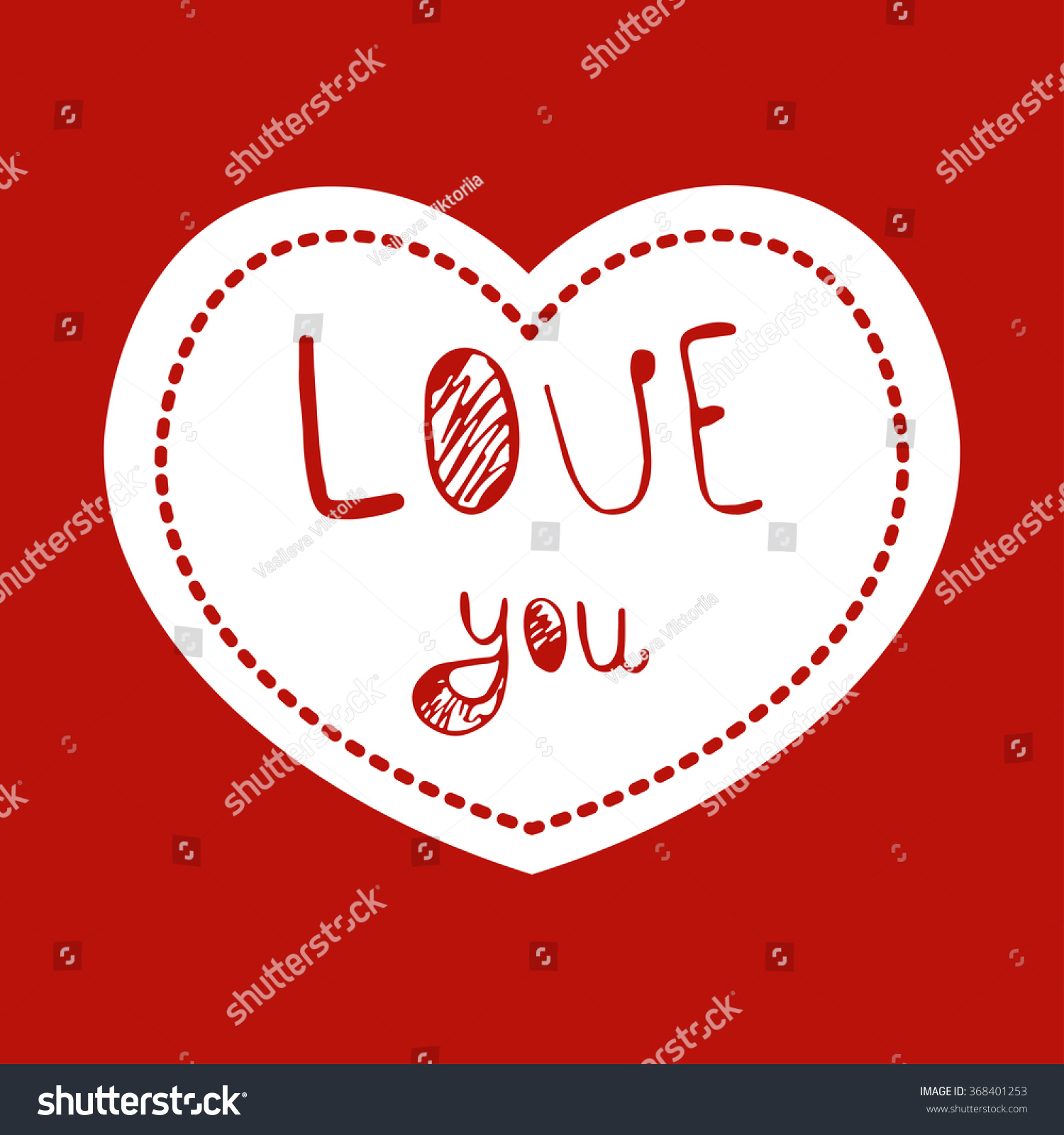 Love Youvalentines Day Greeting Cards Vector Stock Vector 368401253