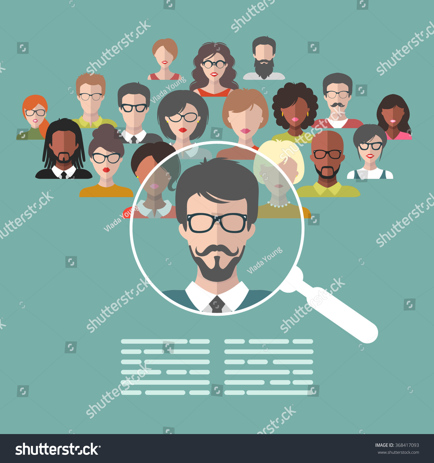 vector concept human resources management professional stock vector concept of human resources management professional staff research head hunter job magnifying