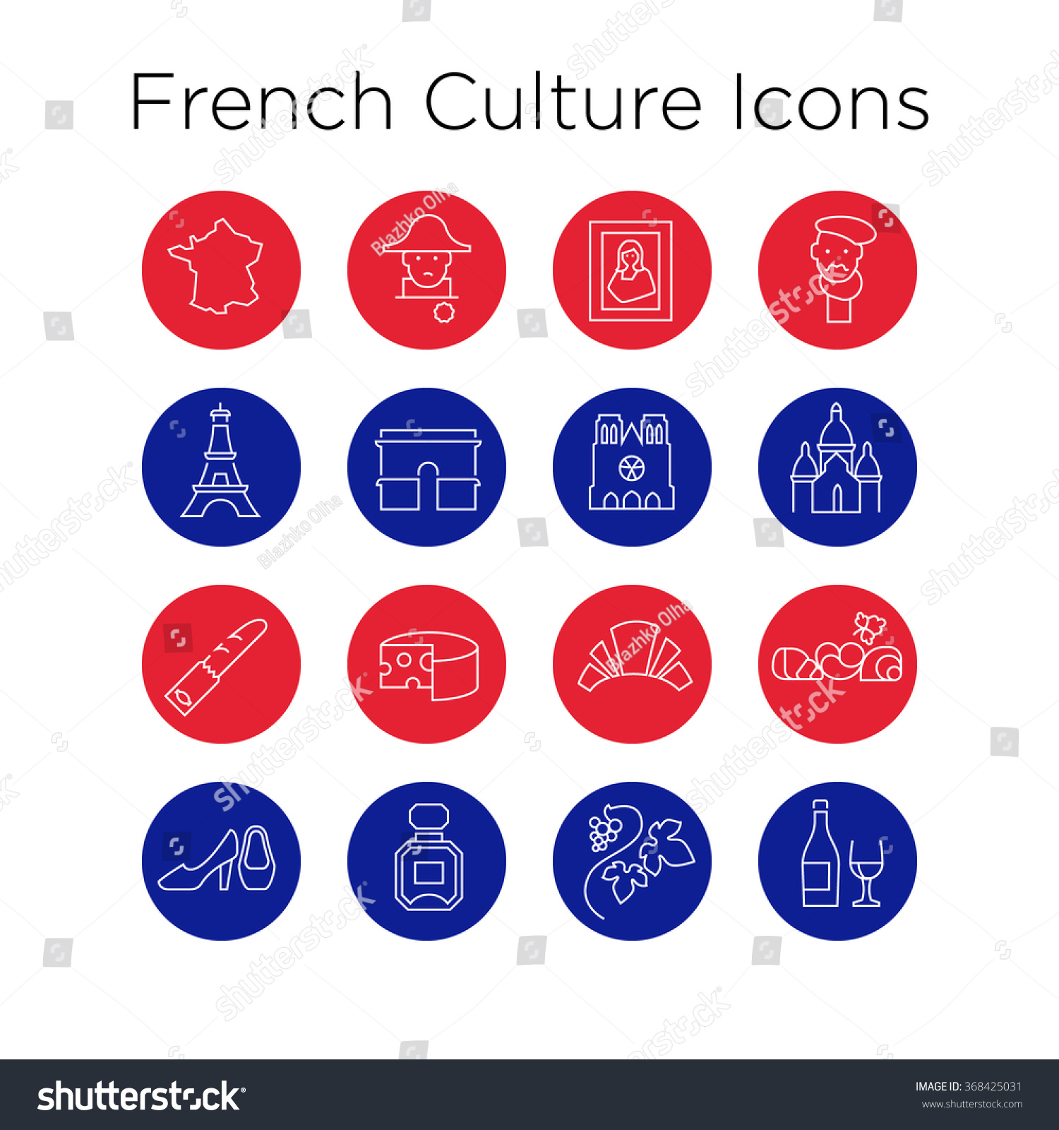 French Culture Icons Culture Signs France Stock Vector 368425031 ...