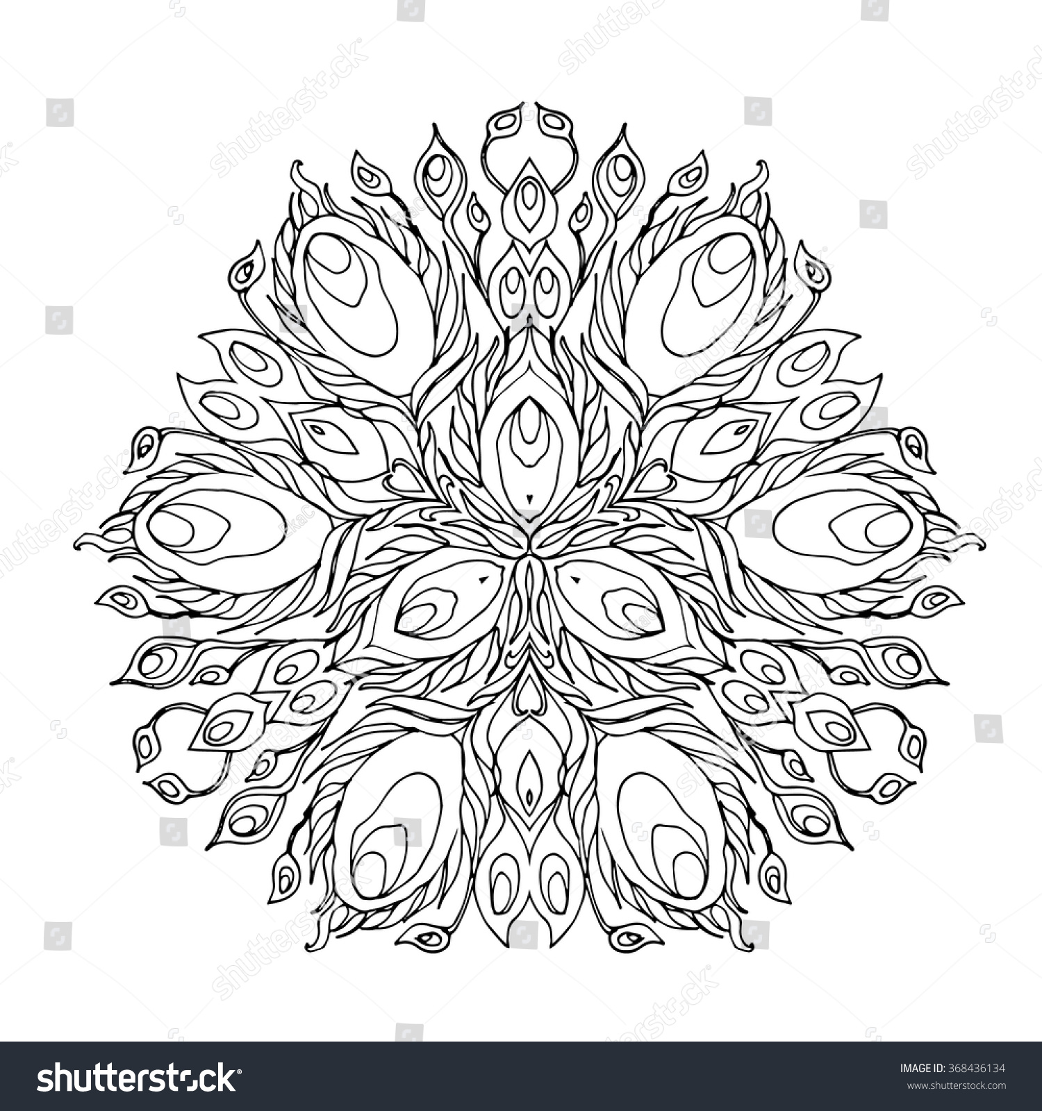 Abstract Mandala Design Kaleidoscope Shape With Peacock Feather Arrangement Hand Drawn Vector For Coloring Book