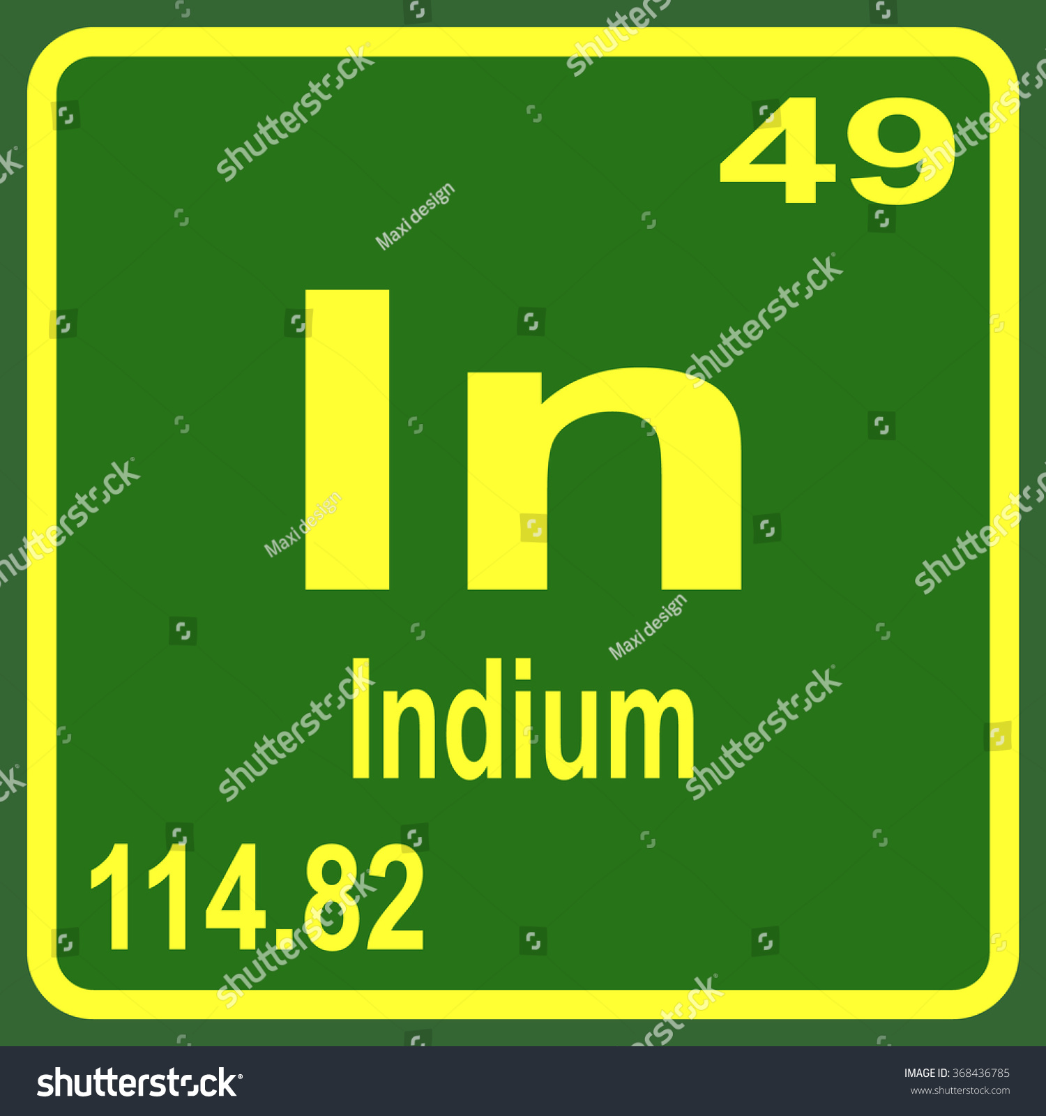 Periodic table elements indium stock vector 368436785 shutterstock periodic table of elements indium gamestrikefo Gallery