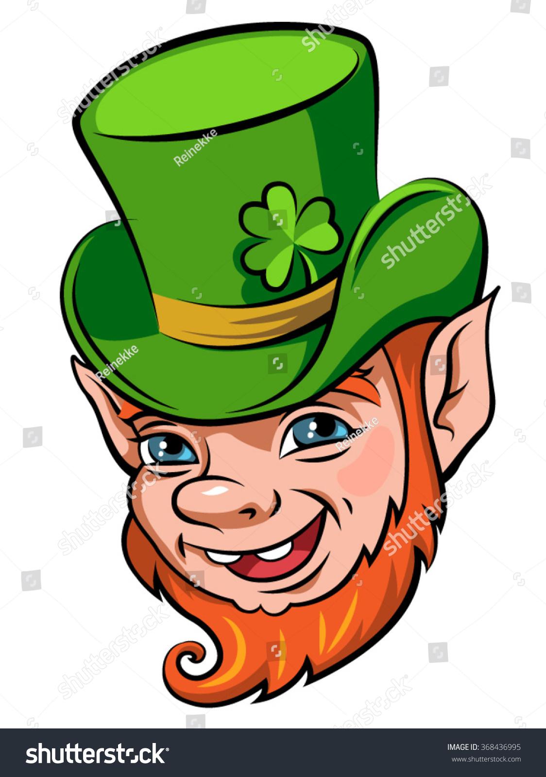head smiling leprechaun symbol st patricks stock vector 368436995