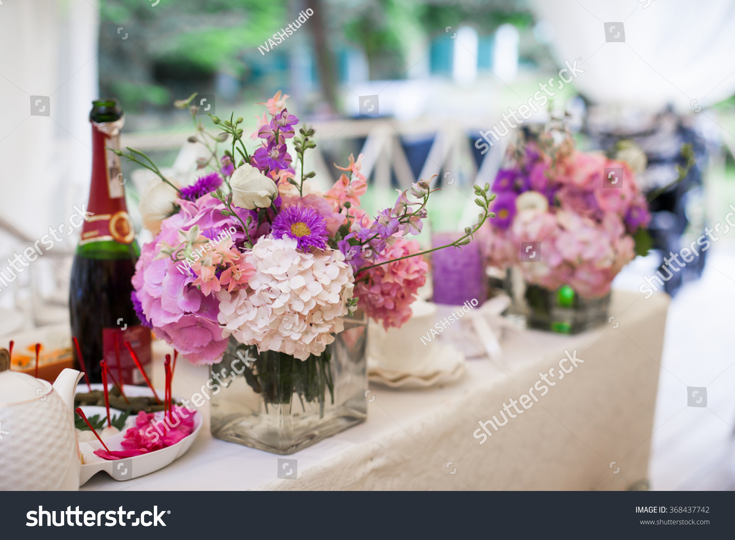 Beautiful Wedding Reception Table Arrangement Tableware And White