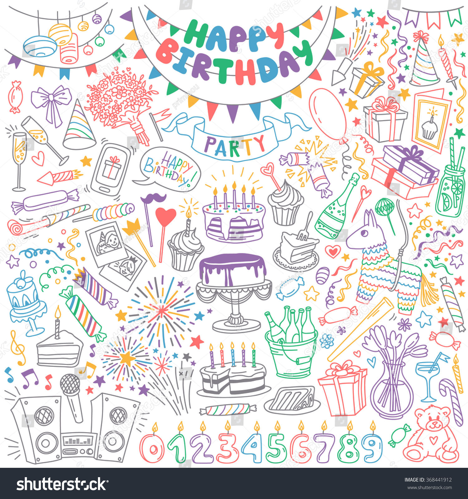 Happy Birthday Hand Drawn Set Party Decoration Gift Box Cake With Candles