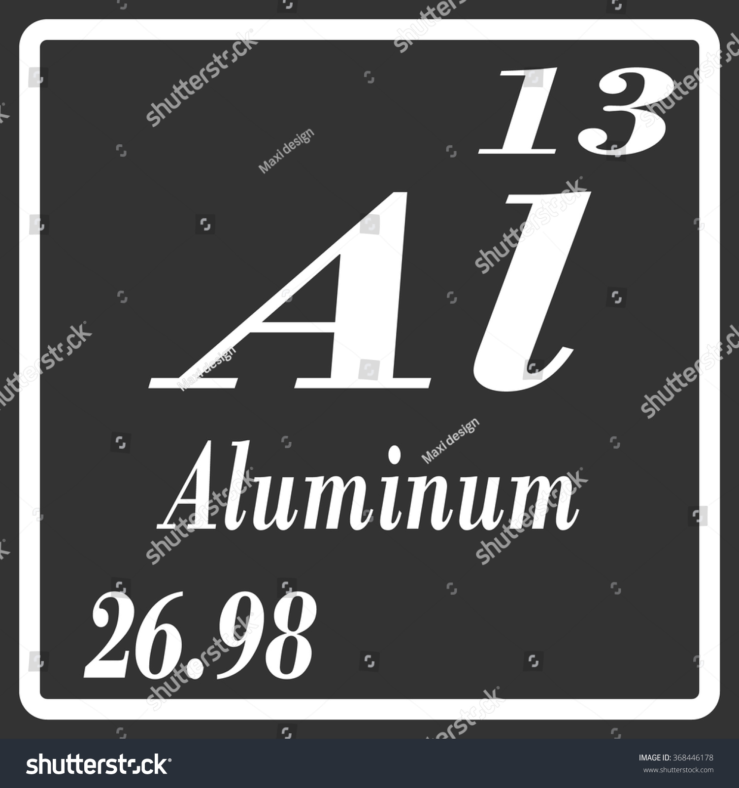 Periodic table elements aluminum stock vector 368446178 shutterstock periodic table of elements aluminum gamestrikefo Image collections