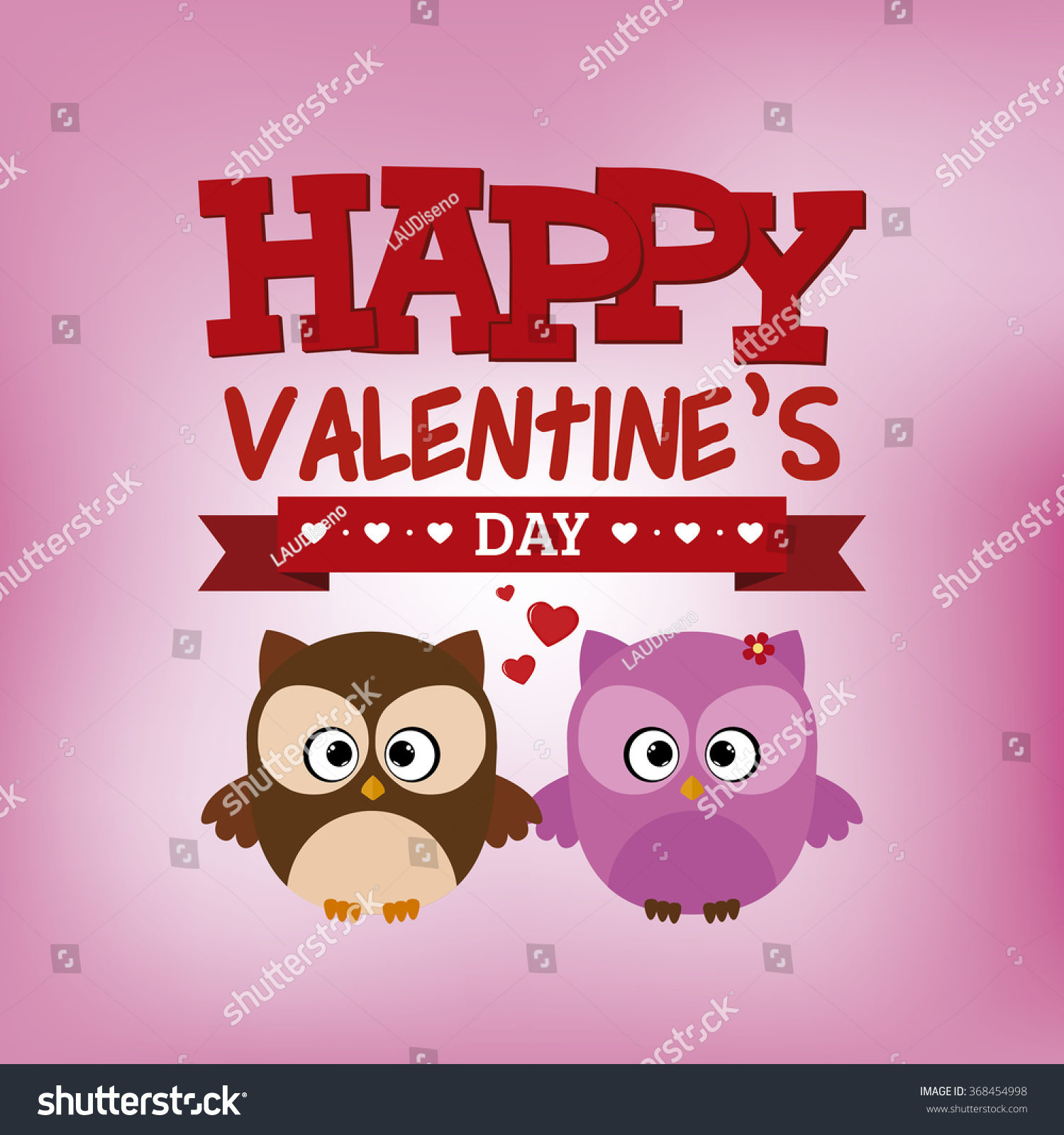 Colored Background Text Owls Valentines Day Stock Vector Royalty