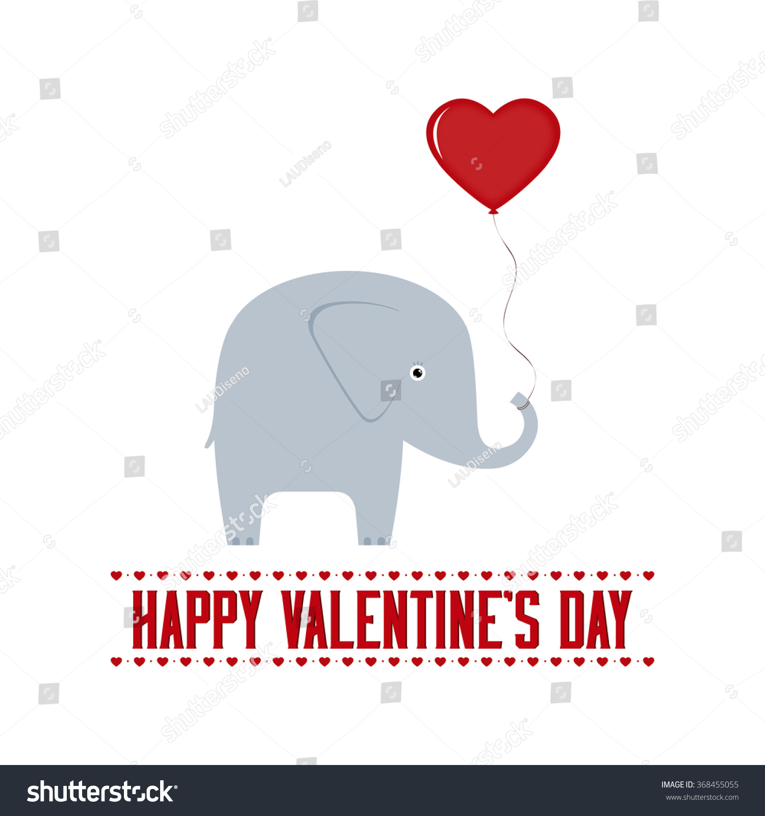 white background with text and an elephant for valentines day - Elephant Valentine