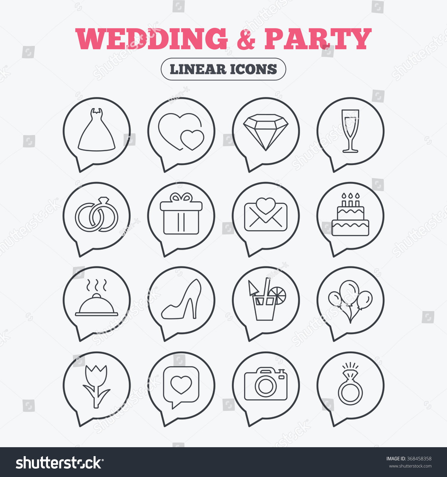 Wedding And Party Icons Dress Diamond Rings Gift Box Invitatiom Letter